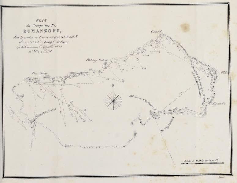 Voyage Pittoresque Autour de Monde - Plan du Groupe des Iles Rumanzoff (1822)