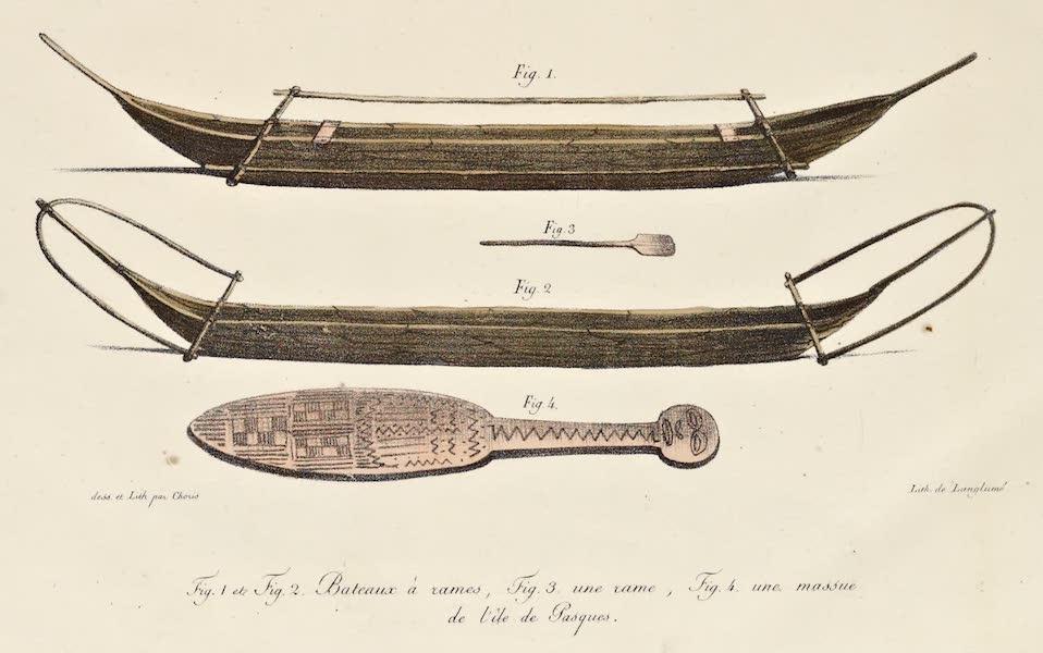 Voyage Pittoresque Autour de Monde - Bateaux a rames / Une rame / Une massure de l'isle de Pasques (1822)