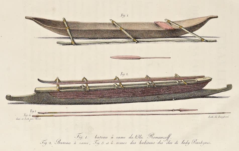 Voyage Pittoresque Autour de Monde - Bateau a rame de l'isle Romanzoff / Bateau a rame / Armes des habitans des isles de lady Penrhynes (1822)