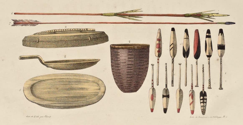 Voyage Pittoresque Autour de Monde - Ustensiles et armes des habitans du detroit de Behring. (5 figs) (1822)