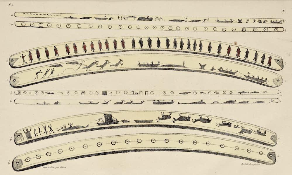 Voyage Pittoresque Autour de Monde - Dessins traces sur des morceaux de dents de Morse par les Habitans du Golfe de Kotzebue. (8 figs) (1822)