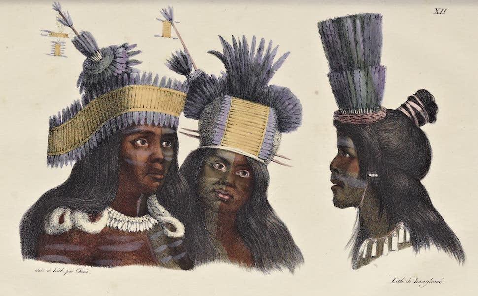 Voyage Pittoresque Autour de Monde - Coiffures de danse des habitans de la Californie (1822)