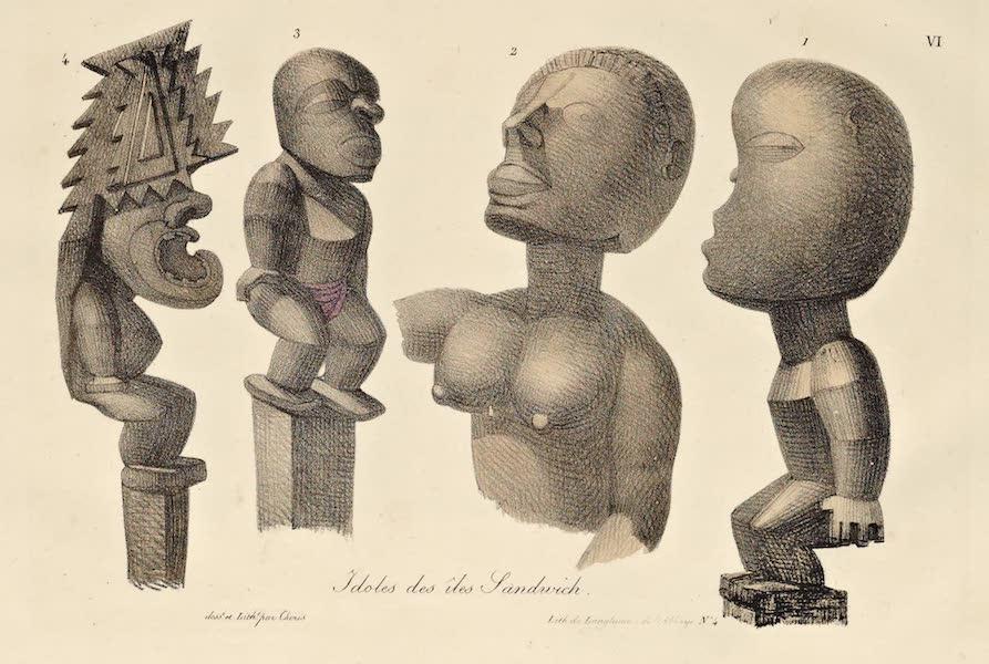 Voyage Pittoresque Autour de Monde - Idoles des isles Sandwich. (4 figs each) (1822)