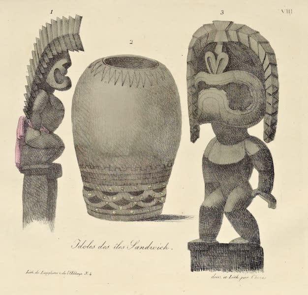 Voyage Pittoresque Autour de Monde - Idoles des isles Sandwich. (3 figs) (1822)