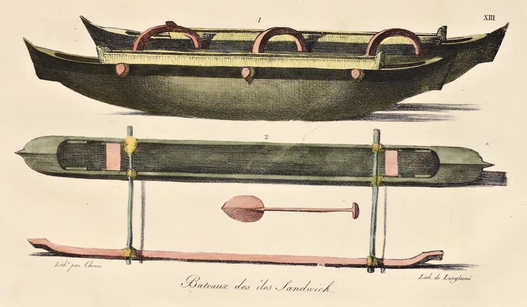 Voyage Pittoresque Autour de Monde - Bateaux des isles Sandwich. (2 figs) (1822)