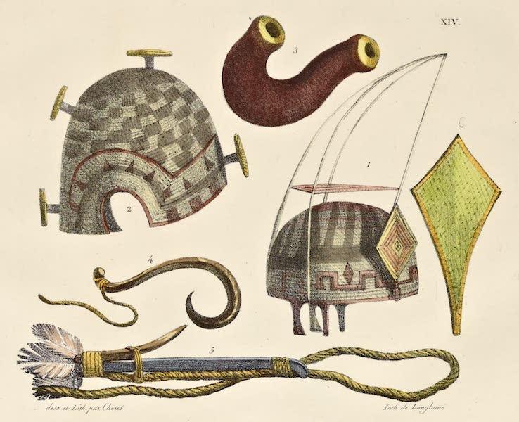Voyage Pittoresque Autour de Monde - Bonnets et ustensiles des isles Sandwich. (5 figs) (1822)