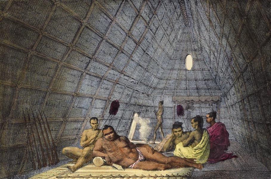 Voyage Pittoresque Autour de Monde - Interieur d'une maison d'un chef dans les isles Sandwich (1822)