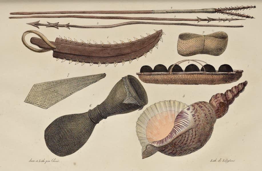 Voyage Pittoresque Autour de Monde - Armes et ustensiles des isles Radak. (9 figs) (1822)