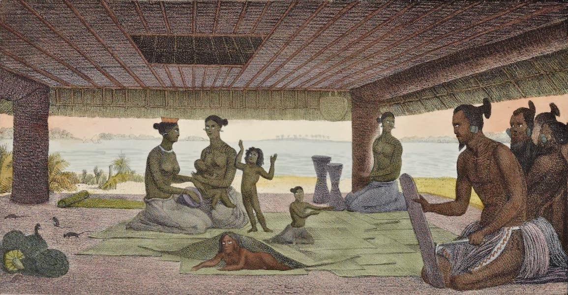 Voyage Pittoresque Autour de Monde - Interieur d'une maison dams les isles Radak (1822)