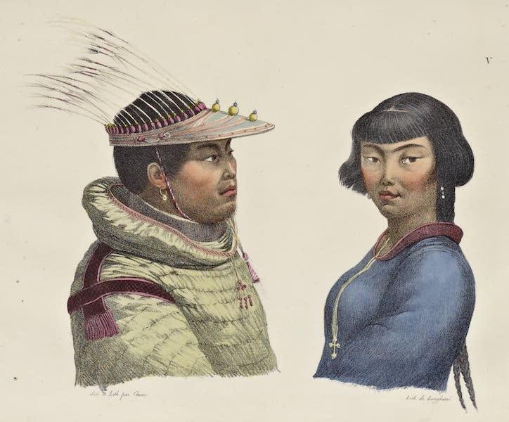 Voyage Pittoresque Autour de Monde - Habitans des isles Aleoutiennes. (homme et femme) (1822)