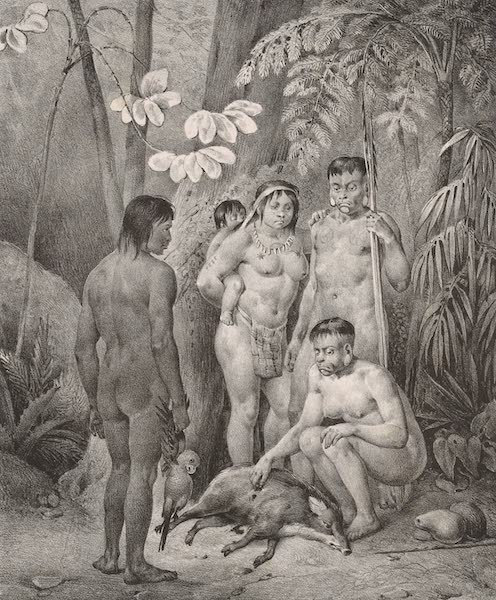 Voyage Pittoresque dans le Bresil - Famille Indienne. Botocudos. (1835)