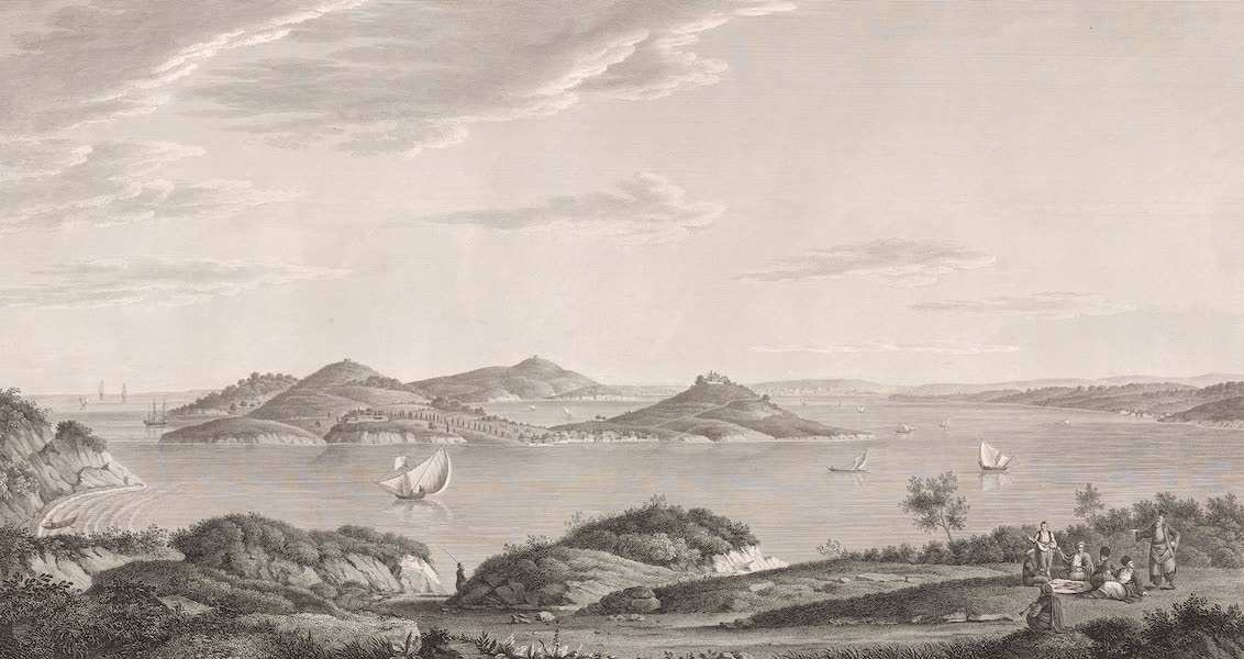 Voyage Pittoresque de Constantinople et des Rives du Bosphore Vol. 2 - No. 4. Vue des isles des Princes la côte d'Asie à droite, et la ville de Constantinople dans le lointain (1819)