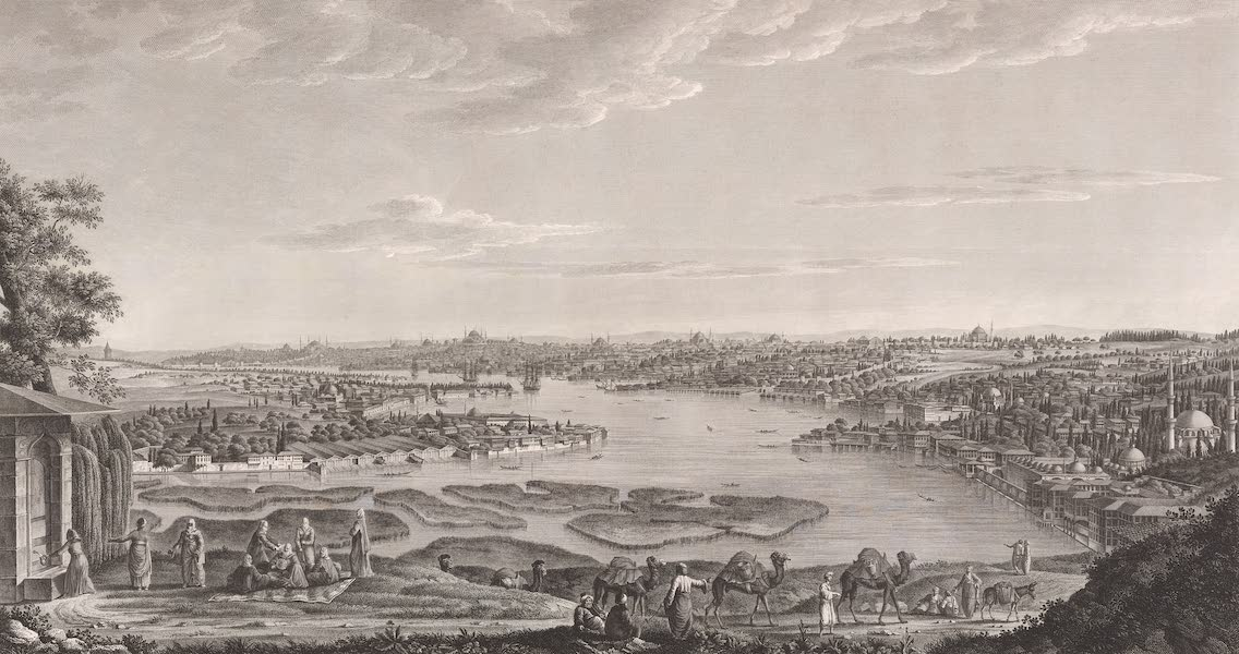 Voyage Pittoresque de Constantinople et des Rives du Bosphore Vol. 2 - No. 14. Vue générale du port de Constantinople, prise des hauteurs d'Eyoub (1819)