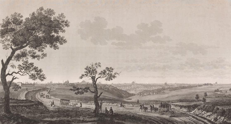 Voyage Pittoresque de Constantinople et des Rives du Bosphore Vol. 2 - No. 20. Vue générale de Constantinople, prise du chemin de Buyuk-Déré (1819)