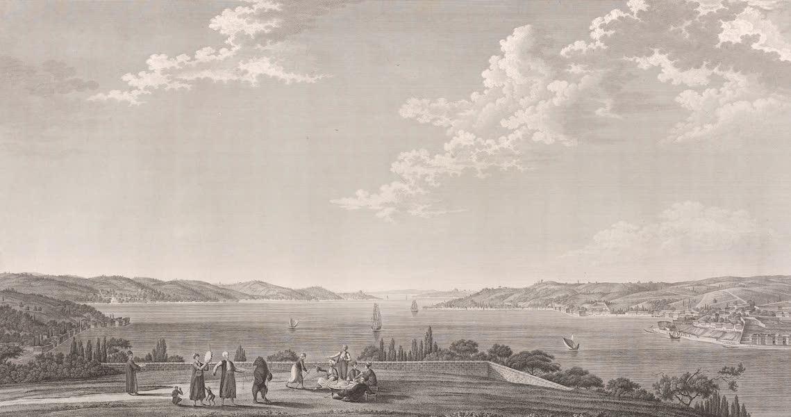 Voyage Pittoresque de Constantinople et des Rives du Bosphore Vol. 2 - No. 31. Vue de la partie centrale du Bosphore, prise à Kandilly (1819)