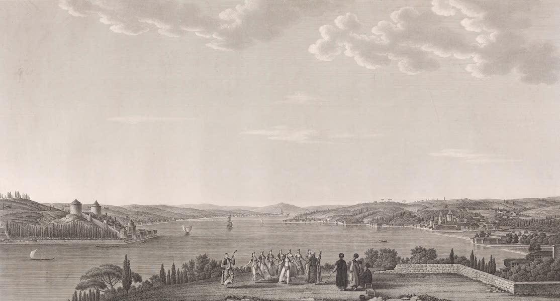 Voyage Pittoresque de Constantinople et des Rives du Bosphore Vol. 2 - No. 32. Seconde vue du Bosphore, du côté de la mer Noire, prise à Kandilly (1819)