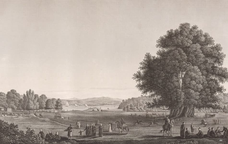 Voyage Pittoresque de Constantinople et des Rives du Bosphore Vol. 2 - No. 39. Prairie de Buyuk-Déré, sur la rive européenne du Bosphore, à quatre lieues de Constantinople (1819)