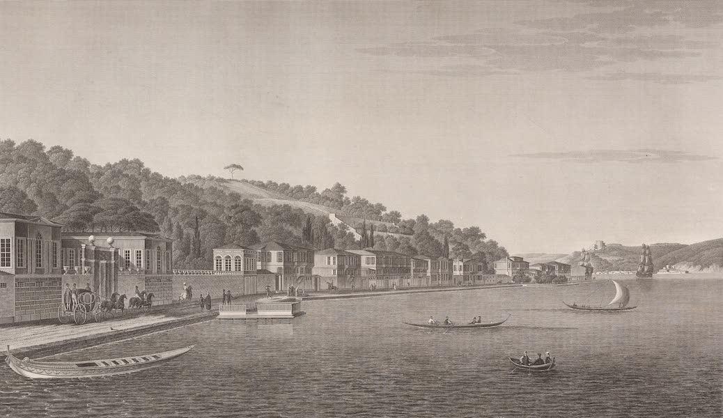 Voyage Pittoresque de Constantinople et des Rives du Bosphore Vol. 2 - No. 42. Vue de la partie orientale du village de Buyuk-Déré, sur la rive européenne du Bosphore (1819)