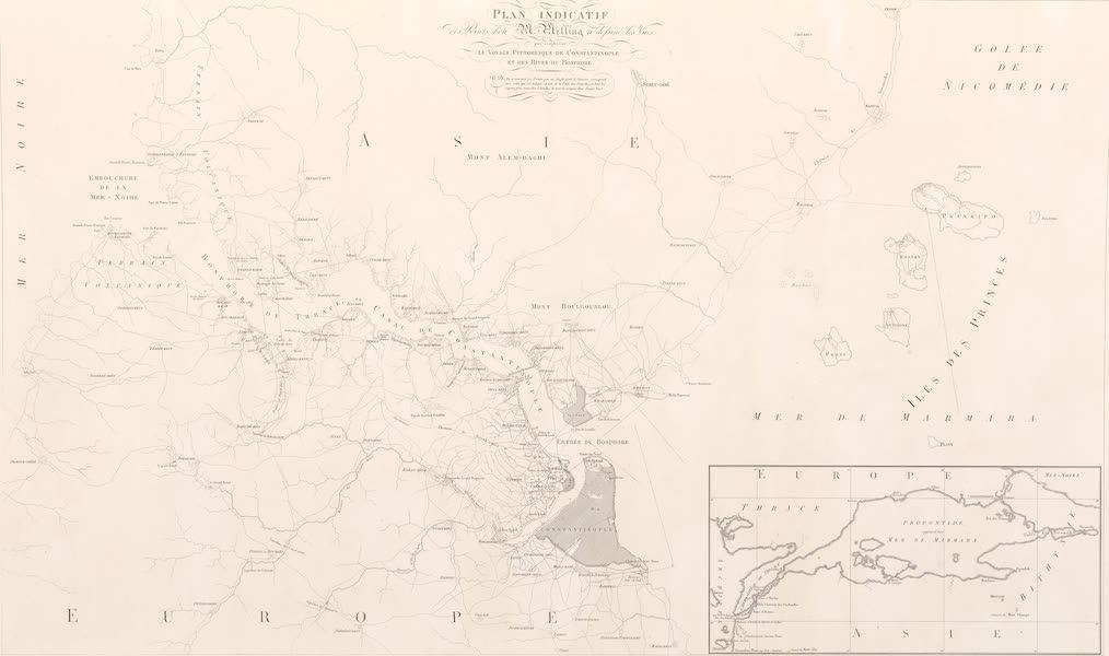 Voyage Pittoresque de Constantinople et des Rives du Bosphore Vol. 2 - Plan indicatif des points d'où M. Melling a dessiné les vues qui composent Touvrage (1819)