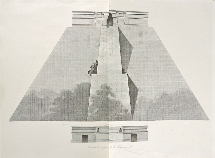 Voyage Pittoresque et Archeologique dans la Province d'Yucatan - Elevation de la Pyramide de Kingsborough (1838)