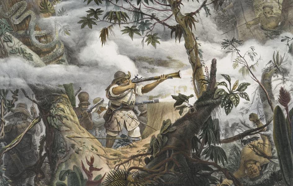 Voyage Pittoresque et Historique au Bresil Vol. 1 - Sauvages Civilises, Soldats Indiens de Mugi das Cruzas (Province de St Paul) combattant des Botocoudos (1834)