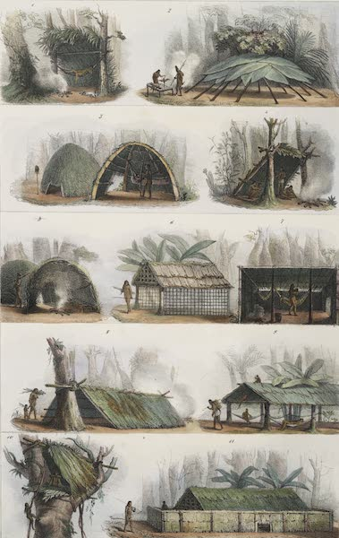 Voyage Pittoresque et Historique au Bresil Vol. 1 - Differentes Formes de Huttes des Sauvages Breziliens (1834)