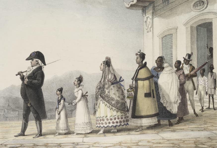 Voyage Pittoresque et Historique au Bresil Vol. 2 - Un employe du Gouvernment sortant de chez lui avec sa Famille (1835)