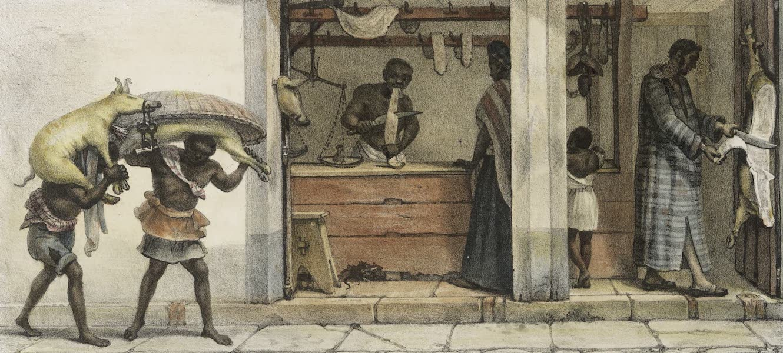 Voyage Pittoresque et Historique au Bresil Vol. 2 - Boutique d'un Marchand de Viande de Porc (1835)
