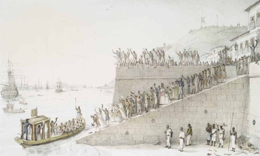 Depart de la Reine pour se rendre a bord du vaisseau Royal destine a conduire sa Cour a Lisbonne
