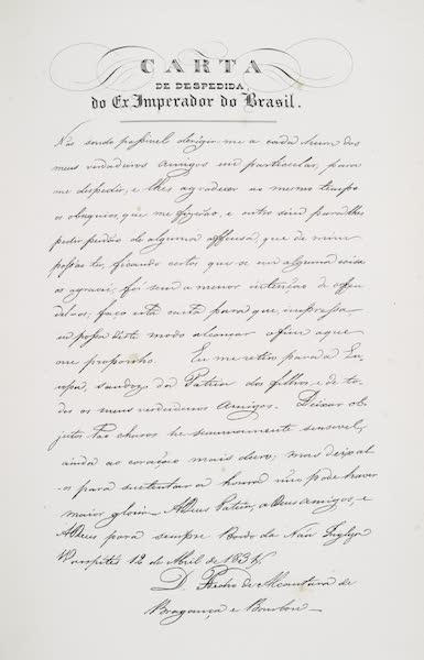 Voyage Pittoresque et Historique au Bresil Vol. 3 - Carta de Despedida do Ex. Imperador do Brasil (1839)