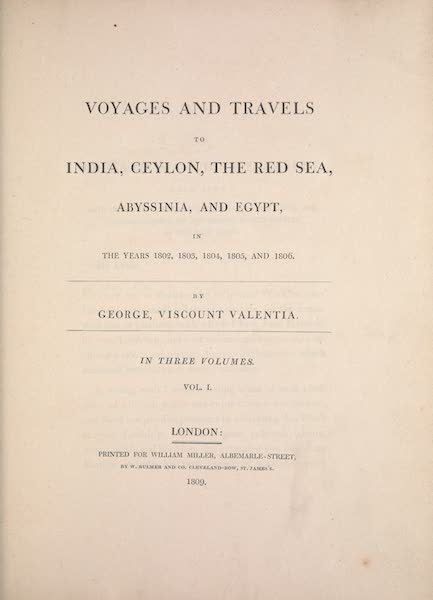 Voyages and Travels to India, Ceylon, the Red Sea, Abyssinia, and Egypt Vol. 1 - Title Page (1809)