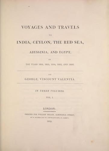 Voyages and Travels to India, Ceylon, the Red Sea, Abyssinia, and Egypt Vol. 1 (1809)
