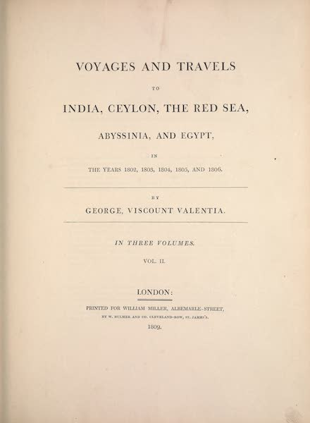 Voyages and Travels to India, Ceylon, the Red Sea, Abyssinia, and Egypt Vol. 2 - Title Page (1809)