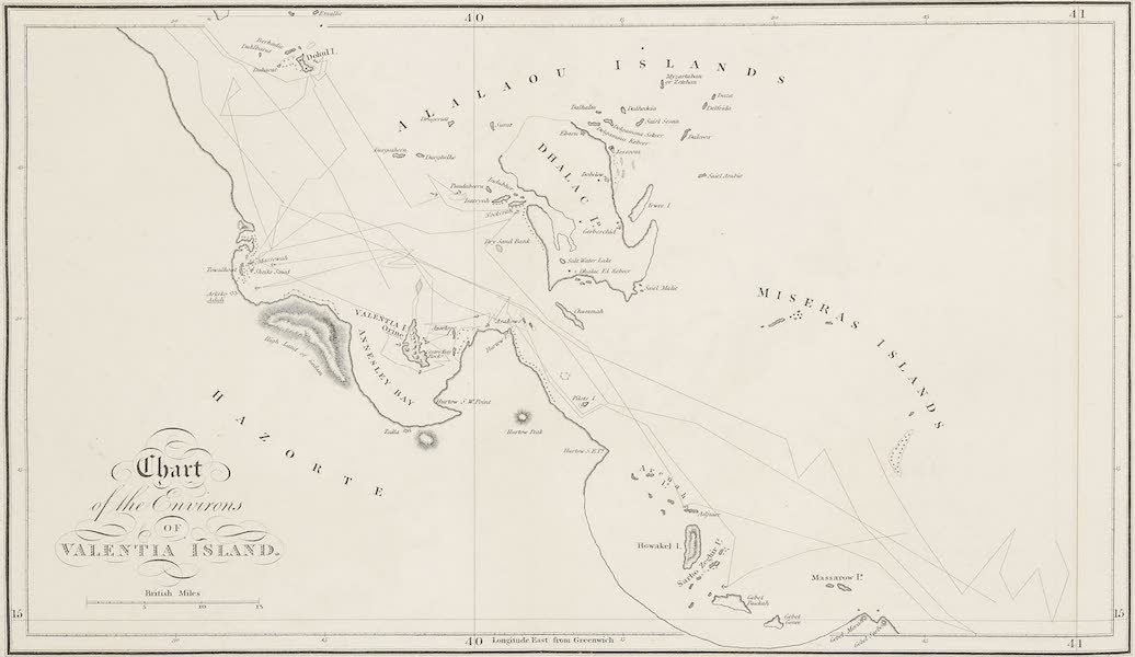Voyages and Travels to India, Ceylon, the Red Sea, Abyssinia, and Egypt Vol. 2 - Chart of the Environs of Valentia Island (1809)