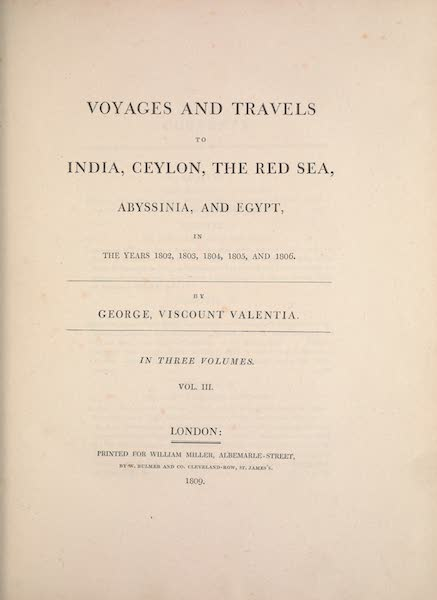 Voyages and Travels to India, Ceylon, the Red Sea, Abyssinia, and Egypt Vol. 3 - Title Page (1809)