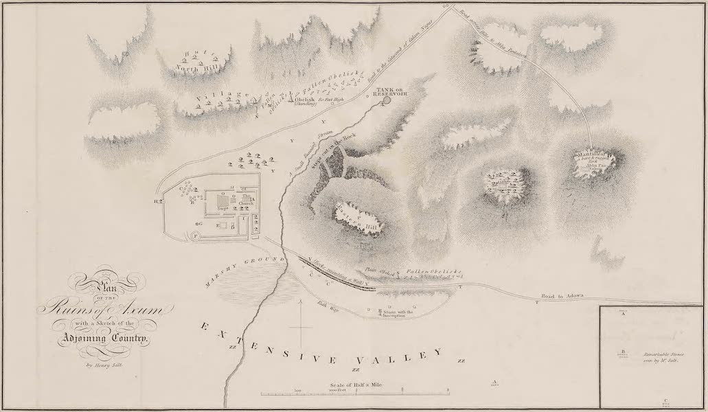 Voyages and Travels to India, Ceylon, the Red Sea, Abyssinia, and Egypt Vol. 3 - Plan of the Ruins of Axum (1809)