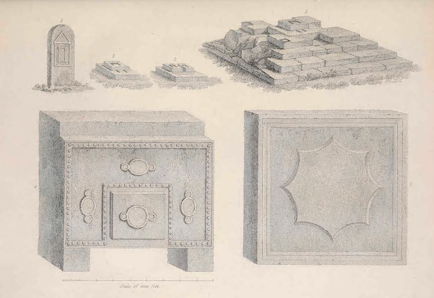 Voyages and Travels to India, Ceylon, the Red Sea, Abyssinia, and Egypt Vol. 3 - 1. A Small Obelisk, 2. Pedestals or Altars, 3. A Large Altar near the Square, 4. The Pedestal of a Fallen Obelisk, 5. A Detached Stone in the Church Yard (1809)