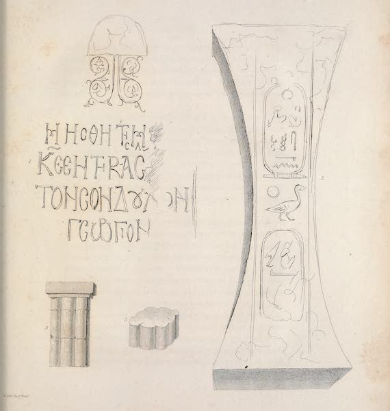 Voyages and Travels to India, Ceylon, the Red Sea, Abyssinia, and Egypt Vol. 3 - 1. Inscription on a Column at Damietta, 2. Copper Dovetail found at Bahbeit, 3. Ancient Column found at Mafsowah (1809)