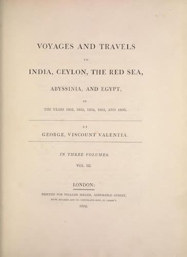 Voyages and Travels to India, Ceylon, the Red Sea, Abyssinia, and Egypt Vol. 3 (1809)