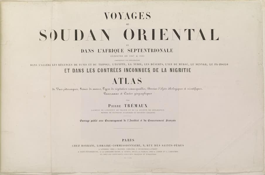 Voyages au Soudan Oriental et Dans l'Afrique Septentrionale - Title Page (1852)