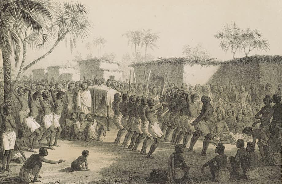 Voyages au Soudan Oriental et Dans l'Afrique Septentrionale - Planche 5. Danse funèbre des Barahras. (1852)