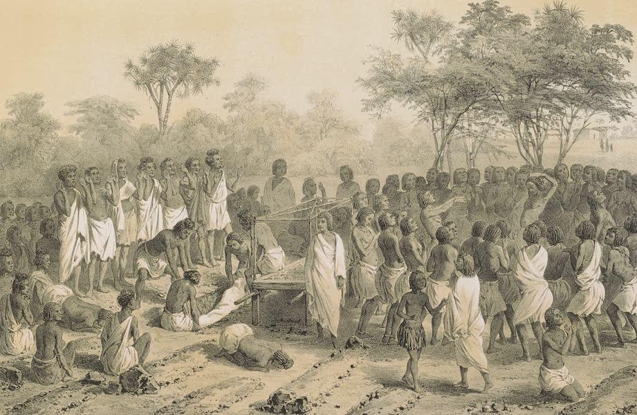 Voyages au Soudan Oriental et Dans l'Afrique Septentrionale - Planche 6. Cérémonie funèbre des Barahras. (1852)