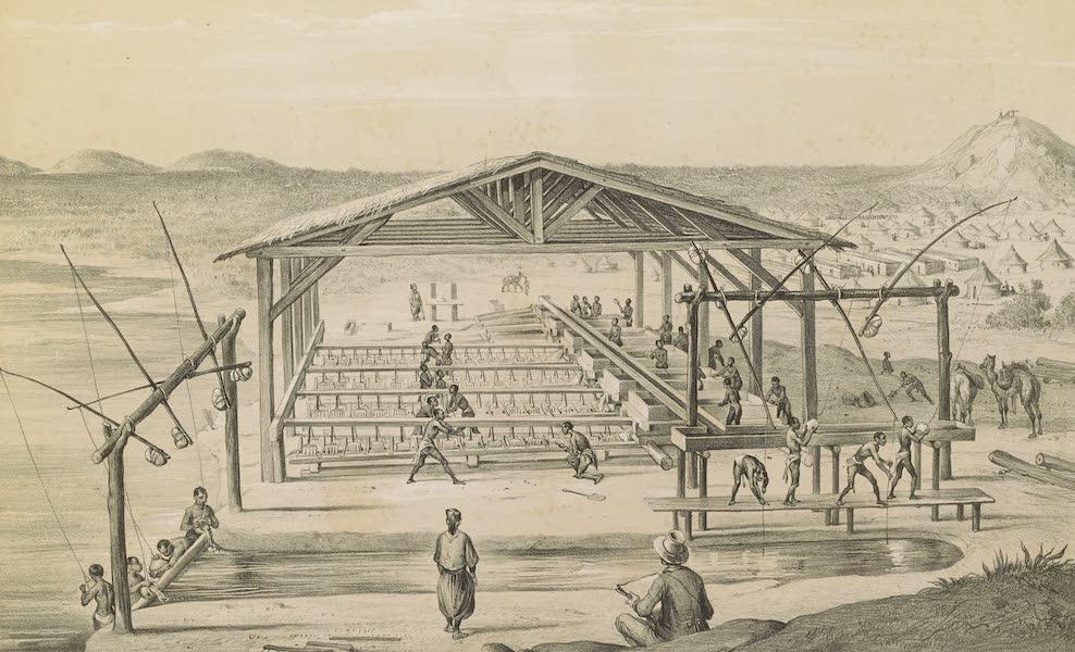 Voyages au Soudan Oriental et Dans l'Afrique Septentrionale - Planche 15. Atelier de lavage des sables aurifères. (1852)