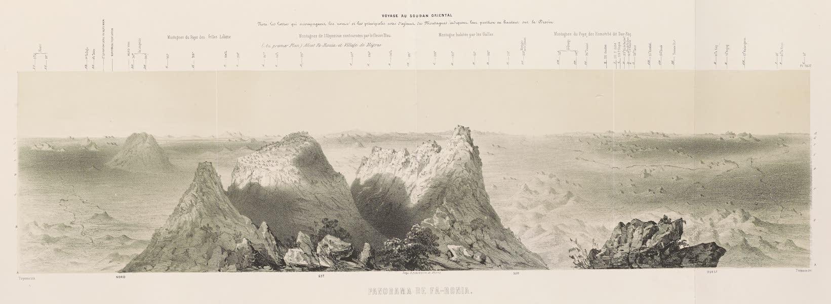 Voyages au Soudan Oriental et Dans l'Afrique Septentrionale - Planches 16 et 17. Panorama de Fa-Ronia. (1852)