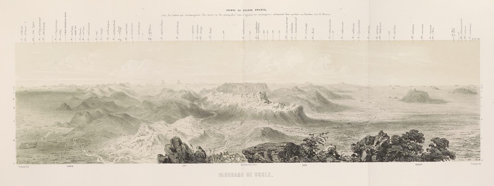 Voyages au Soudan Oriental et Dans l'Afrique Septentrionale - Planches 27 et 28. Panorama de Doul. (1852)