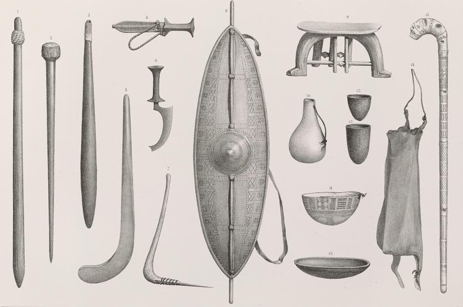 Voyages au Soudan Oriental et Dans l'Afrique Septentrionale - Planche 33. Armes et ustensiles à l'usage des Nègres. (1852)