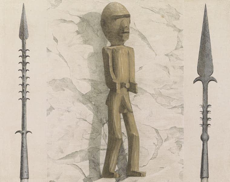Voyages au Soudan Oriental et Dans l'Afrique Septentrionale - Planche 34. Lance et essai de sculpture des Nègres. (1852)