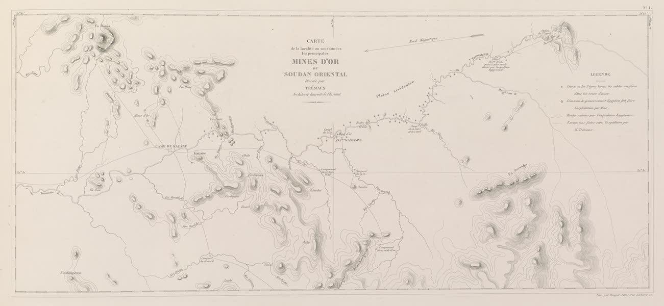 Voyages au Soudan Oriental et Dans l'Afrique Septentrionale - Carte no. 1. Carte des mines d'or du Soudan oriental (1852)