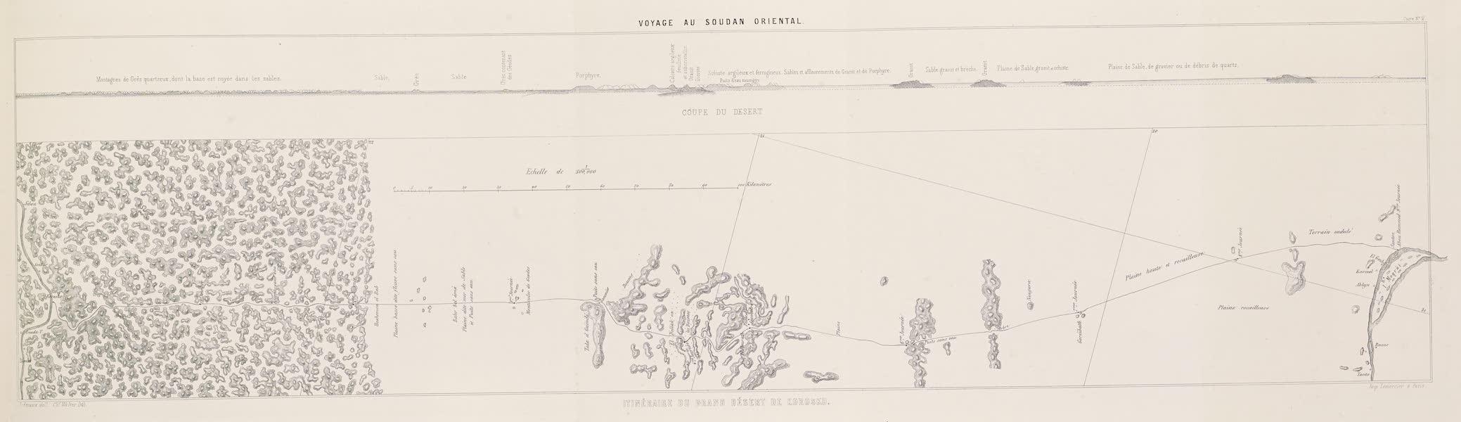 Voyages au Soudan Oriental et Dans l'Afrique Septentrionale - Carte no. 2. Carte de l'itinéraire du grand désert de Korosko. (1852)