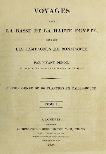 French - Voyages dans la Basse et la Haute Egypte Vol. 1